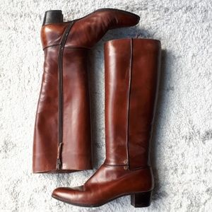 Salvatore Ferragmo leather riding boots brown